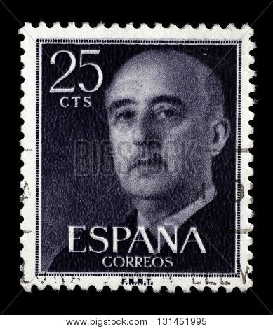 ZAGREB, CROATIA - JUNE 24: A stamp printed in Spain shows a portrait of Francisco Franco, circa 1955, on June 24, 2014, Zagreb, Croatia