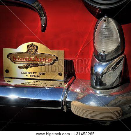 Camogli, Liguria, Italy - September 20, 2015 Festival Fiat 500 Rally - Bianchina cabriolet 1969