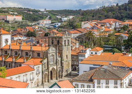 LAMEGO, PORTUGAL - APRIL 22, 2016: Cathedral in the historical center of Lamego, Portugal