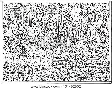 Adult coloring book poster page with font words eats shoots and leaves, black and white drawing, vector illustration