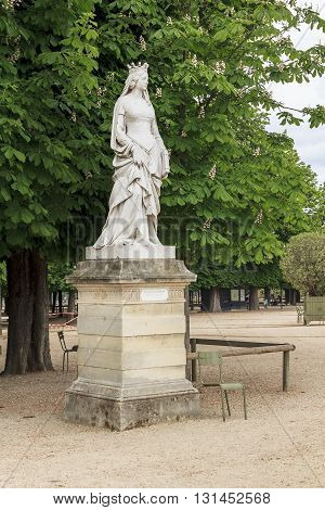 PARIS FRANCE - MAY 14 2013: This is Statue of Valentina Visconti Duchess of Orleans in Luxembourgh Garden.