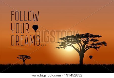 African desert Safari. Scene landscape of a sunset on the background of the acacia tree and air balloon in the sky. Sun rays and the beautiful nature.