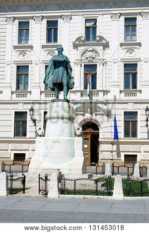Pecs Hungary. City in Baranya county. Pecs municipal building on Kossuth Square.