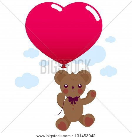 Vector illustration of a Valentines day Teddy bear soft toy holding a red heart balloon and flying in the sky.