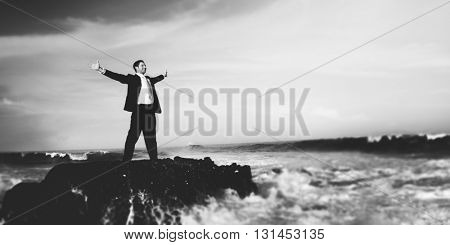 Businessman Staying Alone on the Island Concept