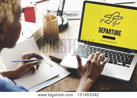 Departure Plane Check In Travel Concept