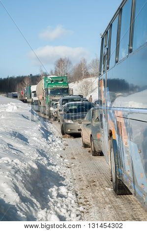 Sim Russia Traffic jam at intercity road caused by heavy snowstorm