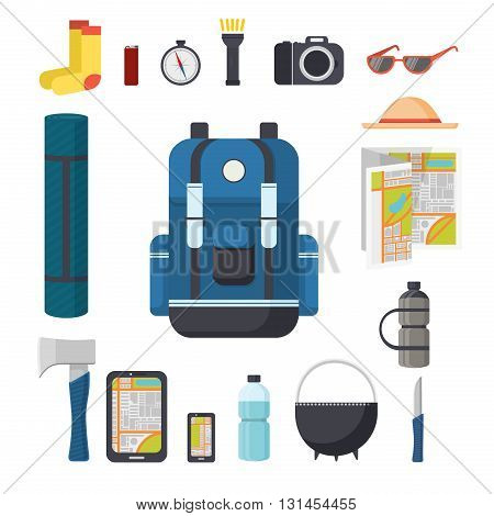 Tourist backpack. Great marching backpack with a set of tourist things for travel. Things to travel with a backpack - pad, ax, gadgets, compass, flashlight, camera. Isolated flat illustration. Vector illustration