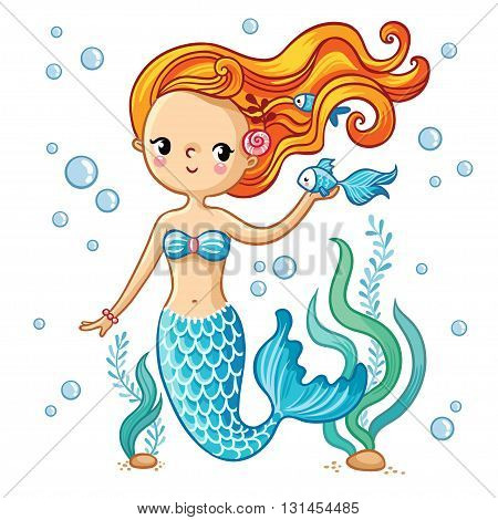 Sea collection Mermaid. Cute swimming cartoon mermaid. Mermaid in vector illustration.