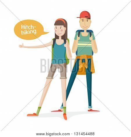 Two young people Couple tourists. Couple hitchhiking. Young people with backpacks with a finger up. Girl and boy hitchhiking in a cartoon flat. Hitchhiker traveling with backpack. Isolated. Vector illustration
