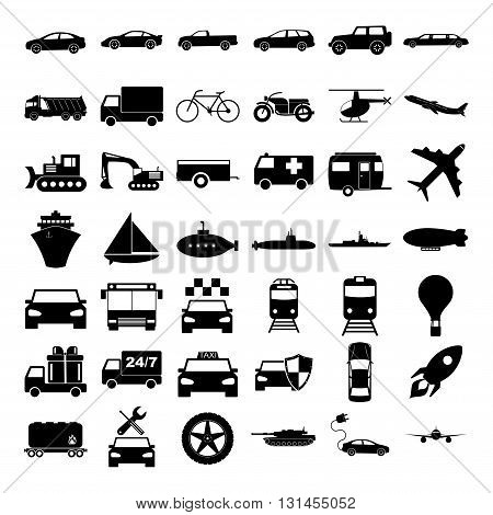 Transport icons. Vector concept illustration for design.