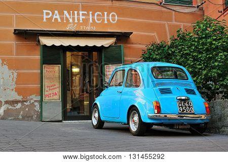 Camogli Liguria Italy - March 26 2016 Fiat 500 Abart on Italian street.