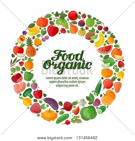 Fruits and Vegetables in a circle. Gardening, horticulture. Organic Food banner. Vector illustration