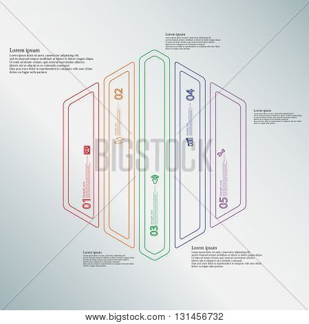 Illustration infographic template with motif of hexagon. Hexagon divided to five color parts. Each part created by double outline contour. Each part contains number text and simple sign.