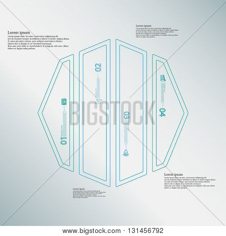 Illustration infographic template with motif of octagon. Octagon divided to four blue parts. Each part created by double outline contour. Each part contains number text and simple sign.