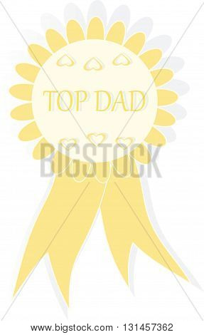 Yellow award signifies Top Dad, Best dad ever, winners, vector illustration
