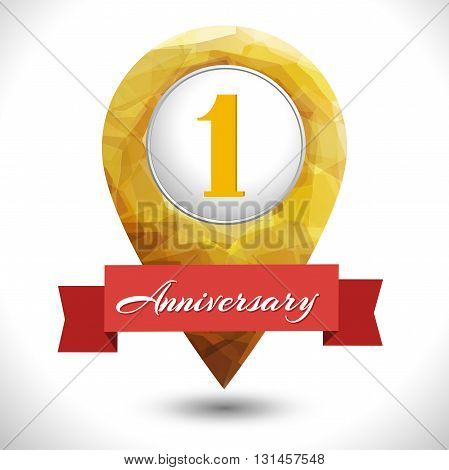 1 year anniversary logo template with red ribbon isolated vector template