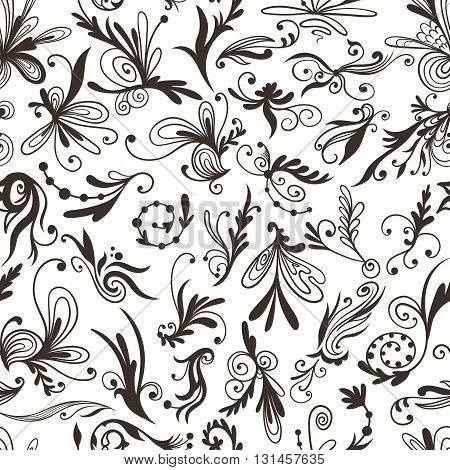 Elegant classical style seamless background with floral ornaments for decoration, paper and fabric design