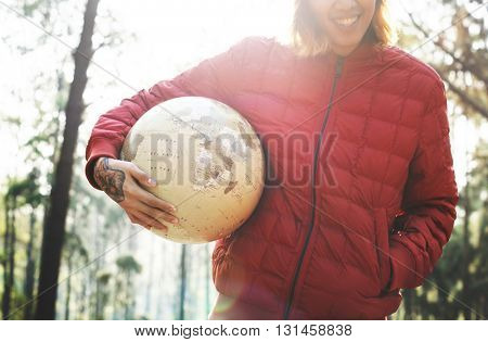 Camping Man Holding Happy Globe Concept