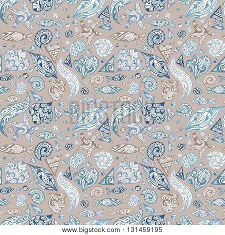 Seamless sketch marine texture in blue, purple and beige colors with ocean animals and waves hand-painted outline illustrations for textile and wallpaper design