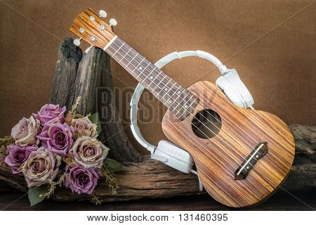 still life photography with ukulele and headphone on flower background vintage retro style love music concept