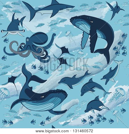 the inhabitants of the underwater world fish and marine animals whales dolphins sharks octopus fish and jellyfish seamless pattern vector illustration