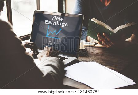 View Earnings Budget Finance Investment Income Concept
