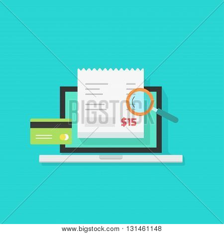 Online payment audit analyzing vector illustration, pay bill tax research concept, financial accounting via laptop computer isolated, flat style