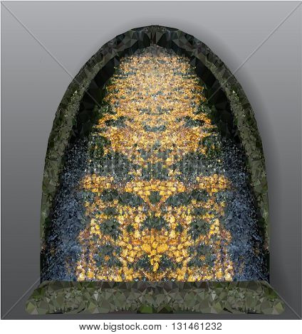 Abstract object reminiscent of gothic stained glass window. Decorative polygonal object with a mosaic pattern