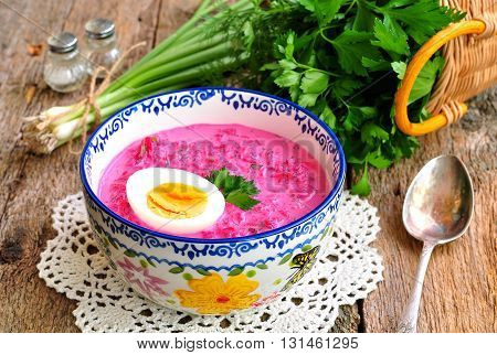 Cold summer soup made from boiled beets, eggs, cucumber, green onions and sour cream. Russian tradition.