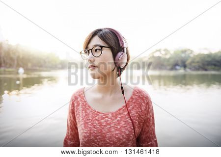Casual Park Relaxation Audio Enjoyment Girl Concept
