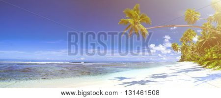 Tropical beach destination panorama.