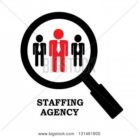 a row of businessmen and ordinary magnifying glass that lets you see in detail the prospective employee