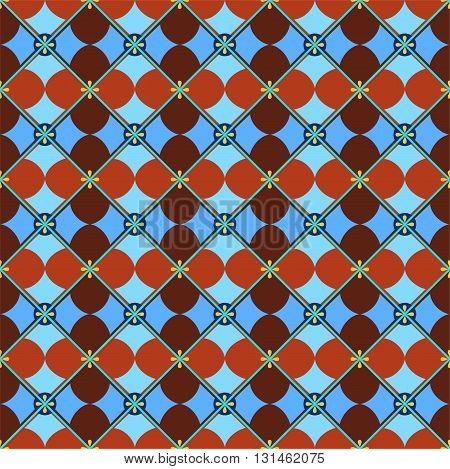 Seamless background, geometric, petals, brown-blue. Vector colored background with brown geometric petals on a blue background. For the decoration.