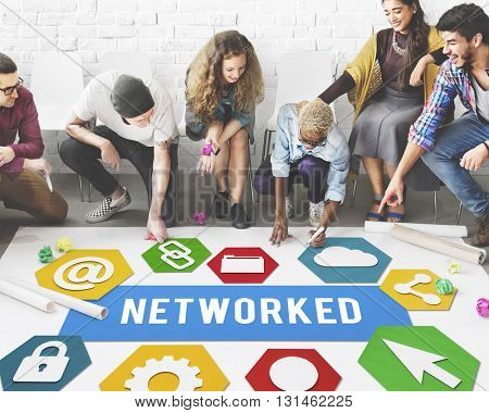 Networked Networking Internet Connection Concept