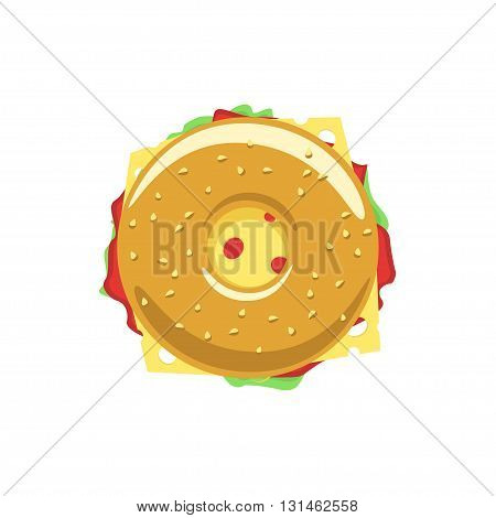 Bagel sandwich vector logo, donut flat icon with meat, hum, salad, cheese, doughnut meal symbol, tasty food, tasty burger, hamburger, fast food shop emblem bakery logo modern design isolated on white