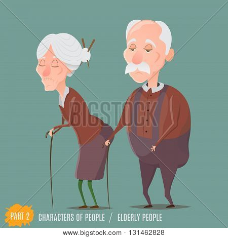 Elderly woman and man walking with sticks.Grandmother and grandfather.Vector characters