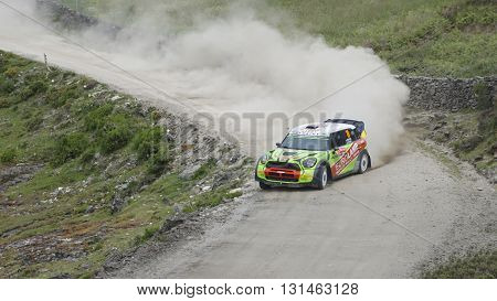 AMARANTE PORTUGAL - MAY 21: WRC Stage of the 50th Vodafone Rally de Portugal on May 21 2016 in Amarante Portugal.