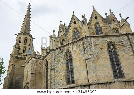 Old gothic temple at main square of medieval village Mirepoix in southern France