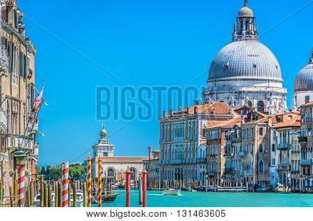 View from boat at Venice cityscape, spring time, Italy Europe.