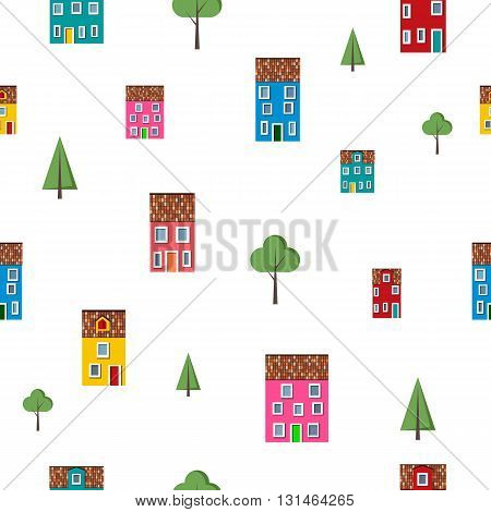 Seamless pattern with colorful houses and trees isolated on white background