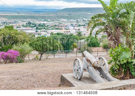 UITENHAGE SOUTH AFRICA - MARCH 7 2016: A view of Uitenhage from the cannon at the top of Canonhill in Uitenhage an industrial town in the Nelson Mandela Bay Metropolitan Municipality
