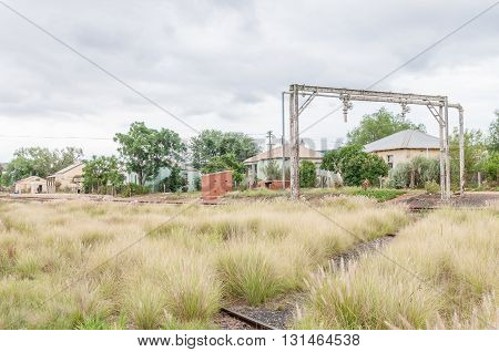 WOLWEFONTEIN SOUTH AFRICA - MARCH 7 2016: The station railroad and houses in Wolwefontein a small village between Kirkwood and Jansenville in the Eastern Cape Province