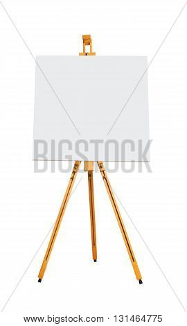 Blank canvas on easel on a white background