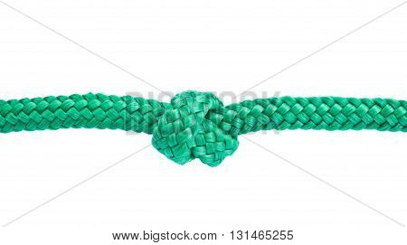 Green rope with a knot isolated on white background