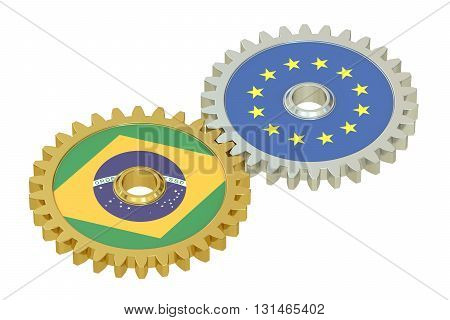 Brazil and EU flags on a gears 3D rendering isolated on white background