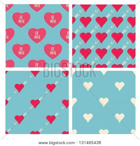Set of Valentine's Day themed seamless patterns. Vector pattern with hearts in retro style. Valentine's Day and wedding deco elements. Seamless background.