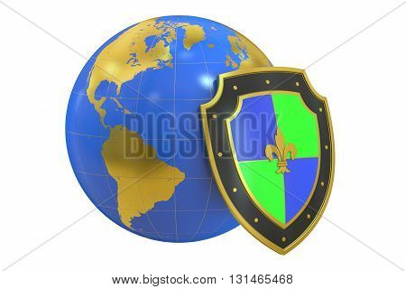 earth with shield protect concept. 3D rendering