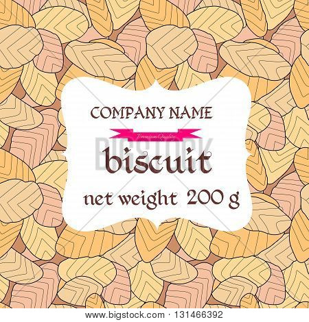Cookies packaging. Biscuit background. Backdrop depicting confectionery. Vector illustration.