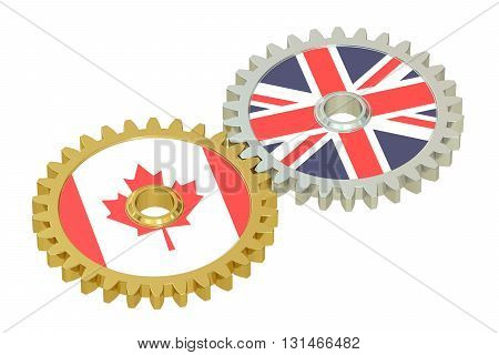 United Kingdom and Canada relations concept flags on a gears. 3D rendering isolated on white background